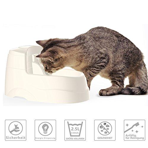 PETBE Automatisches Haustier-Wasser-trinkender Trinkbrunnen, 2.5 Liter, organischer Filter,BPA frei, energiesparend, leise, für kleine Hunde und Katzen