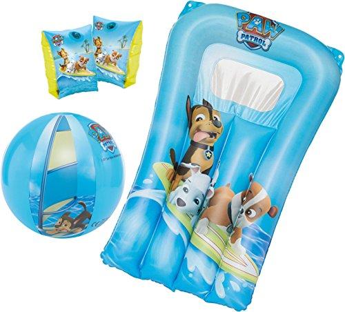 PAW PATROL Schwimmhilfe Kinder von 1-6 Jahre (11-30kg) Schwimmflügel Chase Rubble Marshall (Blau, Badespaß-Set 3tlg.)