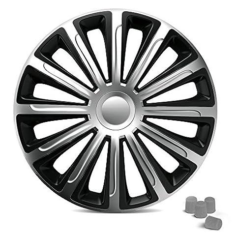 Universal Radzierblenden – TREND 14 Zoll (Schwarz/Silber). Radkappen passend für fast alle PKW inkl. 4 Ventilkappen