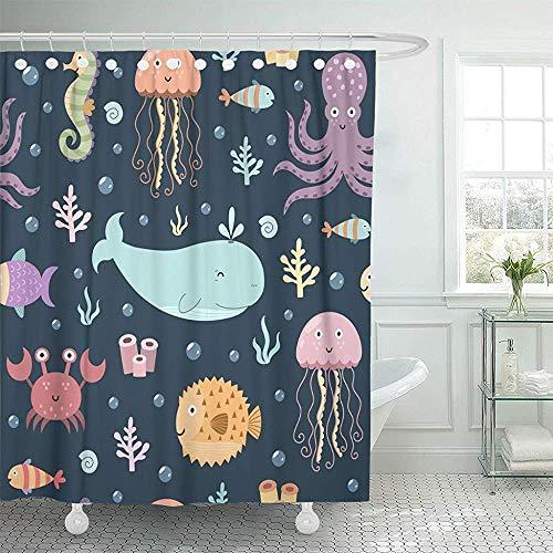 Godfery Walsh Duschvorhang Bunte Aqua Sea Life Niedlich mit Wal Octopus Quallen Krabben Seepferdchen und Globefish Aquarium Wasserdichtes Polyestergewebe 72 X 72 Zoll Set mit Haken -