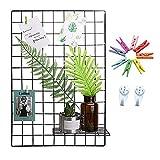 DIY ferro griglia foto parete multifunzione Pannello griglia Foto Clip Ins Art Display Photo muro parete foto Wall Art Display & Organizer(65x45cm) (Nero)