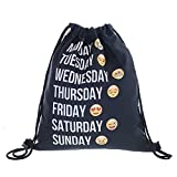 Ouba tech Beutel WiFi Emoticons Emoji Smileys Beutel Stringbag Jutebeutel Turnbeutel Sporttasche Hipster Sack Umhängetasche Loomiloo Swag (Schwarz-1) -