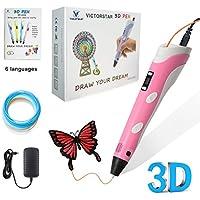 VICTORSTAR 3D Penna con Display Schermo e Manuale Italiano - RP100B Rosa per il 3D Disegno / Compatibile con PLA e ABS filamento + Adattatore + PLA filamento + Manuale Italiano / Regalo Incredibile per il Ragazzo