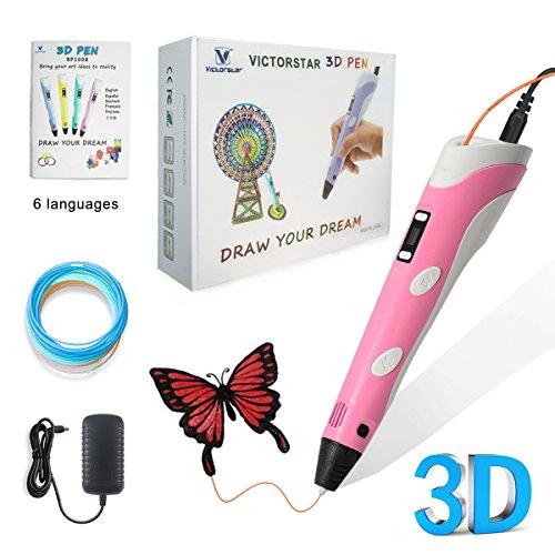 VICTORSTAR @ 3D Pluma con pantalla de visualización RP100B Para el Dibujo 3D Garabatos + Adaptador De Corriente + PLA Filamentos + Manual Español / el Regalo Increíble Para Los Niños … (Rosado)