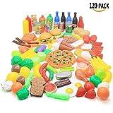 FRETOD Zubehör Kinderküche Spielzeug 120 Pieces Plastik Obst Gemüse Pizza Hamburger für Kleinkind Kinder Bildung