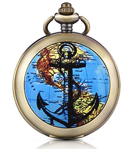 Unendlich U Retro Anker Weltkarte Foto Medaillon Handaufzug Mechanische Taschenuhr Weißes Zifferblatt Skelettuhr Pullover Halskette, beide Ketten