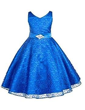 Juleya Vestidos de baile partido de la princesa boda del cordón de la flor de las muchachas