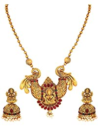 Amaal Temple South Indian Red Green Peacock Goddess Laxmi Matte Gold Pearl Traditional Mala Necklace Jewellery Sets Jhumki Earrings for Women Girls-NL-A385