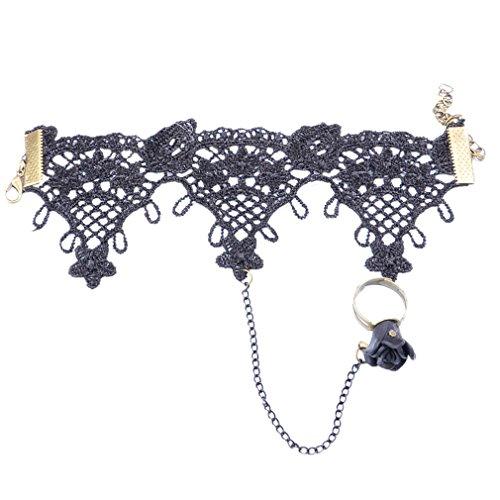 YAZILIND pulsera de estilo gótico con flor encaje pulsera anillo