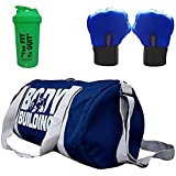 5 O' CLOCK SPORTS Unisex Polyester Body Building Duffle Gym Bag, Shaker and Leather Gloves with Wrist Support, 49x24x24cm, 600ml (Blue, Green)