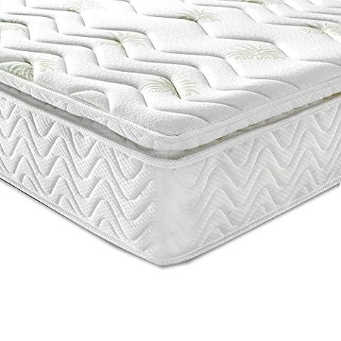 Luxdream Aloe Vera Pillow Top 5-Zone Memory Foam with 3000 Pocket Springs Bed Mattress Anti-Mite Antibacterial (3FT