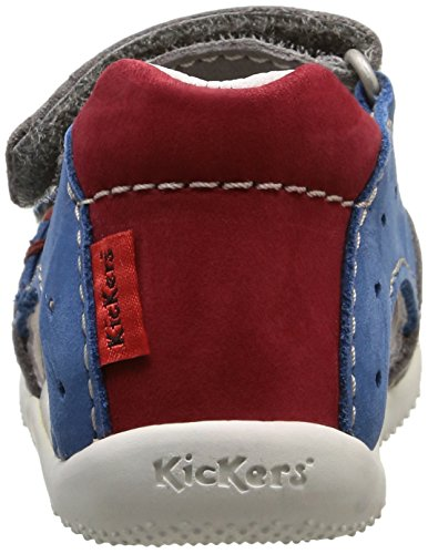 Kickers Boping, Chaussures Bébé marche bébé garçon Gris (Gris Clair/Bleu/Rouge)