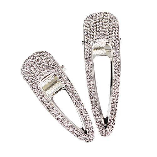 2 Stück Silber Kristall Haarspangen Haarschmuck Alligator Haarspangen Strass Ente Bill Haarspangen Hochzeit Haarnadeln für Frauen -