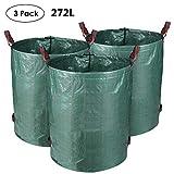 MVPOWER 3 x 272L Sac de Jardin Sac de Déchets de Jardin en PE Solide - Autoportante et Pliable - Sacs Poubelle pour les Déchets de Jardin Feuillage de Pelouse Vert Coupe -Réutilisable (3xSac)