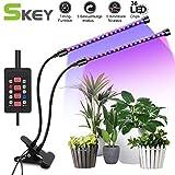SKEY Doppelkopf Pflanzenlampe mit Zeitfunktion, Automatische Ein- / Ausschalten, 3 Arten von Modus. 5 Arten von Helligkeit, 18W