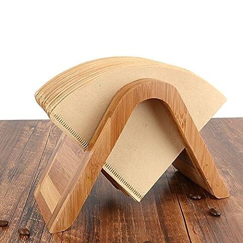 Filtre à café en bambou support à café en papier de stockage de filtre à café papier Container support Taille 4filtre support pour rouleau de papier a