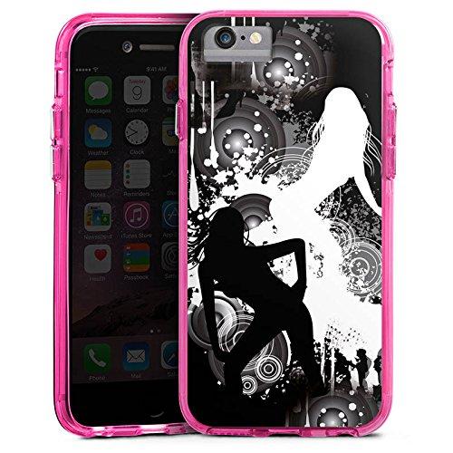 Apple iPhone 6 Plus Bumper Hülle Bumper Case Glitzer Hülle Kreise Silhouette Woman Bumper Case transparent pink
