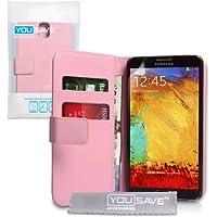 Yousave Accessories Schutzhülle aus PU-Leder Wallet Schutzhülle für Samsung Galaxy Note 3–Baby Pink