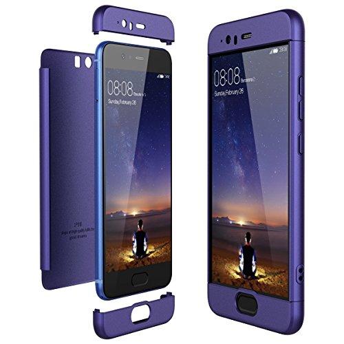 für Huawei P10 Plus Hülle,Honor P10 Handyhülle 3 in 1 Ultra-dünne Anti-Kratzer Hard PC Case Cover mit Stoßfänger Anti-Rutsch Matt für P10+ 5.5 Zoll Case Cover (Blau, P10)