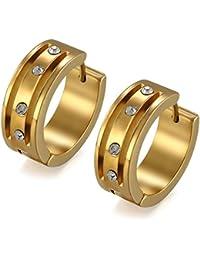 22932b181271 Flongo Pendientes Para Hombre Mujer Unisex Acero Inoxidable Pendientes de  Aros Dorados Hoops Hip Hop Con Diamantes Brillantes…