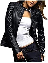 ABDys DWL861 cazadora de piel para mujer, piel de cordero, Negro