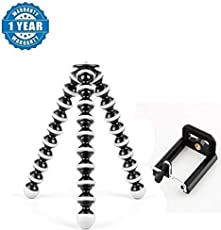 Loopan Gorilla Tripod Fully Flexible Foldable Octopus Mini Tripod Stand with Universal Smartphone Clip Holder for iPhone Android Phone DSLR Camera Black and White