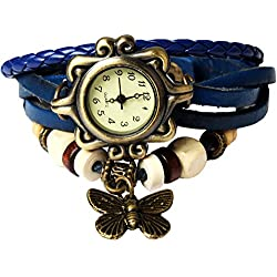 Bohemian Style [Waterproof] Retro Handmade Leather [Butterfly Charm Pendant Wrist Watch] Fashionable Luxury Stylish Weave Around [Wrap Watch Bracelet] For Women Ladies Girls [Scratch Resistant]- Blue