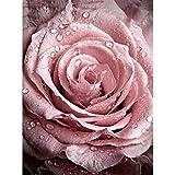 GMYANZSH Decoración del hogar Cubo de Rubik Diamante Pintura Punto de Cruz Kit Bricolaje Agua Rosa Flores Fotos De Piedras Strass Aficiones
