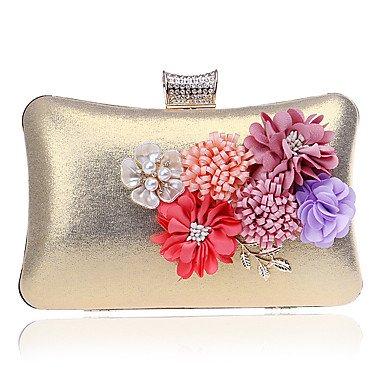 Woman Fashion Blumen Abendessen Abend Tasche Gold