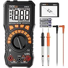 Multímetro Digital profesional Tacklife DM08. de Rango automático Medidor de corriente y voltaje AC/DC. Valor preciso de medición hasta μA Comprobador de baterías, diodos, resistencia, continuidad, etc, función linterna y display luminoso.