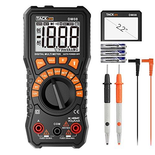 Batterietester, Tacklife DM08 Digital Multimeter Messgerät für Batteriespannung, AC/DC Spannung, Strom, Widerstand, Diode, NCV Funktion mit hintergrundbeleuchtem Bildschirm
