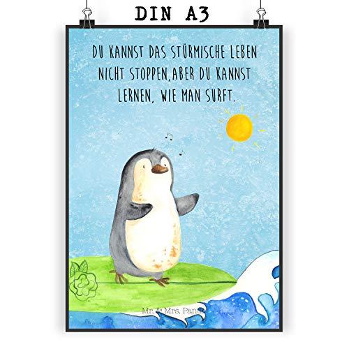 Mr. & Mrs. Panda Geschenk, Wanddeko, Poster DIN A3 Pinguin Surfer mit Spruch - Farbe Eisblau