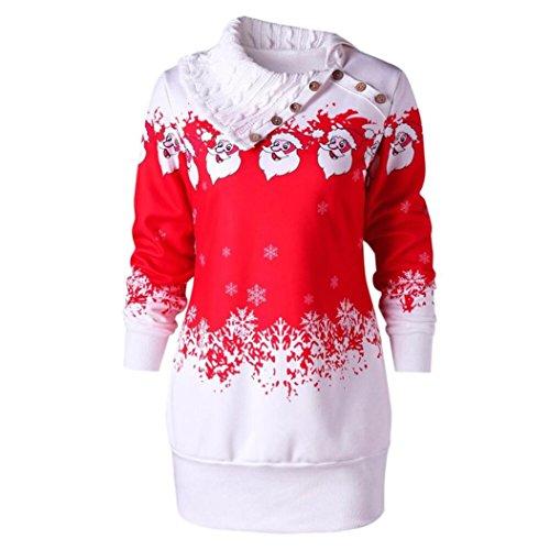 Frauen Kleid,DOLDOA Xmas Weihnachten drehen sich um Kragen Langarm Sweatshirt-Kleid (EU: 40, (Weihnachtsmann Grüne Kostüm)