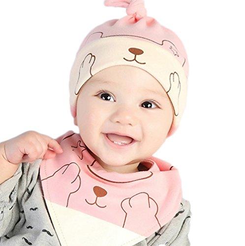 Bigboba baby cotone cappello cartoon fox bavaglini neonato addormentato tappo per 0–12mesi bambine, oliva, cotone, pink, S