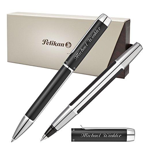 Pelikan Schreibset PURA Schwarz-Silber mit persönlicher Laser-Gravur Kugelschreiber und Tintenroller aus Aluminium mit Hochglanz verchromten Metallbeschlägen
