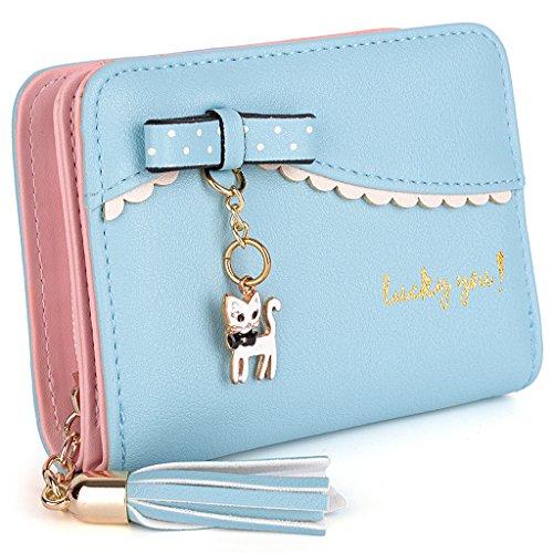 UTO Damen PU Leder Geldbörse Karte Fächer Organizer klein Münze Purse Tassel Reißverschluss Baby blau - Weiße Schleife Münze