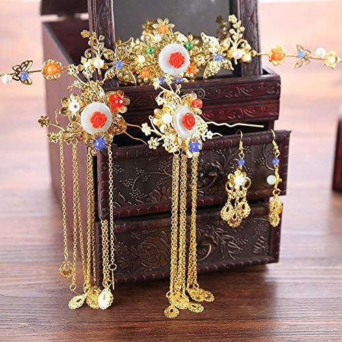 Littlefairy Braut Haarschmuck Chinesische Hochzeit Xiu Wo Kleid Braut Kopfschmuck Sätze Quaste Coronet Haar Ornamente (Braut Satz Tiara)