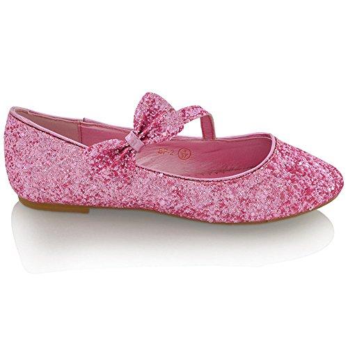 ESSEX GLAM Scarpa Donna Sintetico Ballerina Tacco Piatto Fiocco Glitter Matrimonio Rosa Glitter