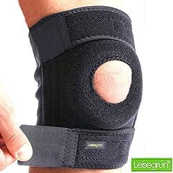 Leisegrün Kniebandage by Schützt Meniskus, Bänder und Patella bei Sport und Freizeit - Knieorthese geeignet für Damen, Herren & Kinder, rechts und links tragbar, elastisch & atmungsaktiv