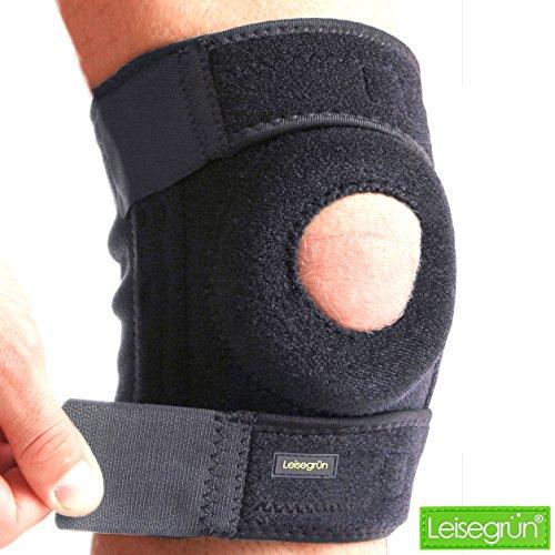 Leisegrün Kniebandage, schützt Meniskus, Bänder und Patella bei Sport und Freizeit. Knieorthese geeignet für Damen, Herren & Kinder, rechts und Links tragbar, elastisch & atmungsaktiv