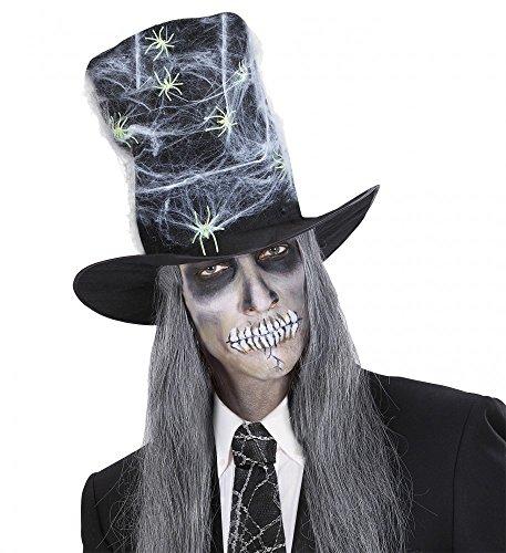 Maxi Zylinder-Hut mit Spinnweben und Leuchtenden Spinnen Geist Herren Halloween ()