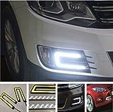 #6: EASY4BUY 2X Car U Shape COB Led Daytime Running Driving Lights Lamp DRL Light for - Skoda Rapid