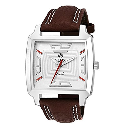 Flux Fashion Analog Brown Leather Strap White Dial Men's Watches WCH-FLUX00279  available at amazon for Rs.289