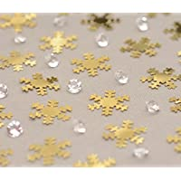 Christmas Foil Table Confetti Decorations Craft Sprinkles (Gold Snowflake/Crystals (28 Gram Pack))