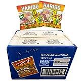 FULL BOX OF HARIBO TREAT SIZE MINIS 100 x 16g BAGS (TANGFASTICS)