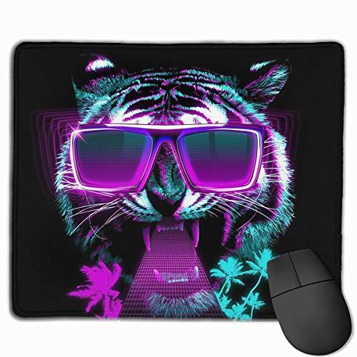 Mauspad Cool Tiger mit Sonnenbrille, rechteckig, Gummi-Mauspad, 29,5 x 23,9 cm, Gaming Mauspad mit schwarzem Rand