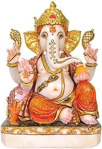 Lord Ganesha Wearing Floral Orange Dhoti - White Marble Statue