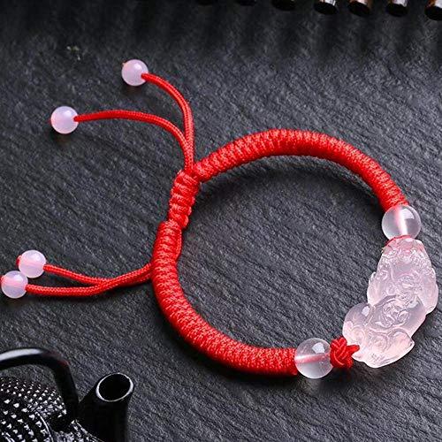 MGZDH Natürliche Pulver Kristall Weben Pixiu rote Seil Armband Hand
