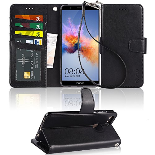 Arae Huawei Honor 7X Hülle, Honor 7X Ledertasche, Premium PU-Leder Brieftasche Handyhülle [Standfunktion] mit Trageschlaufe & [4 Kartenfächer] Für Huawei Honor 7X, Schwarz