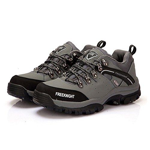 emansmoer Homme Imperméable Respirante Suède Low-Top Lace-Up Outdoor Sport Chaussures de Randonnée Trekking Camping Marche Gris